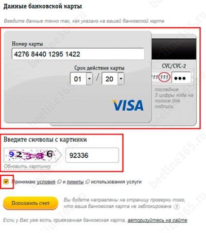 личный кабинет билайн с банковской карты через интернет без комиссии